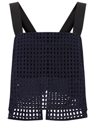 3.1 Phillip Lim Navy Lace Tank Cropped Top Blue