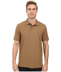 Nautica Short Sleeve Solid Deck Shirt Oyster Brown Men's Short Sleeve Knit
