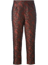 A.F.Vandevorst Jacquard Cropped Trousers Red