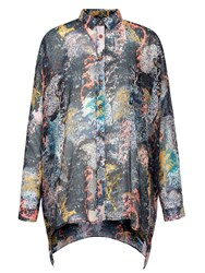 Yumi Tree Printed Oversized Shirt Multi Coloured