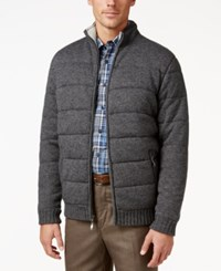 Tasso Elba Men's Full Zip Quilted Jacket Only At Macy's Charcoal Heather