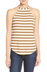 Willow And Clay Women's Rib Stripe High Neck Knit Tank