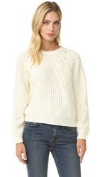 J.O.A. Lace Up Side Sweater Ivory