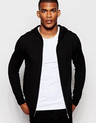 River Island Black Hoodie In Merino Wool