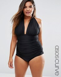 Asos Curve Ruched Halter Swimsuit Black