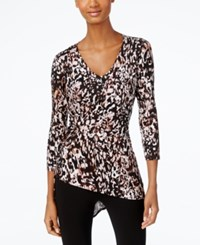 Cable And Gauge Printed Faux Wrap Asymmetrical Hem Top Neutral Multi