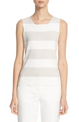 Armani Collezioni Stripe Knit Sleeveless Top Natural