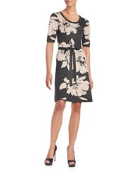 Gabby Skye Printed Scoopneck Dress Graphite