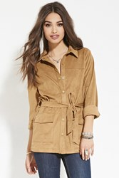 Forever 21 Belted Faux Suede Jacket Tan