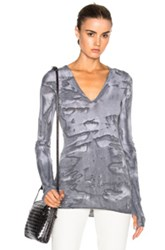 Enza Costa Cashmere Cuffed V Neck Tee In Gray Ombre And Tie Dye Gray Ombre And Tie Dye