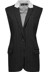 Norma Kamali Paneled Striped Cady And Stretch Cotton Vest Black