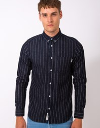 Carhartt Wip Quincy Heart Stripe Long Sleeve Shirt Indigo White Rinsed Navy