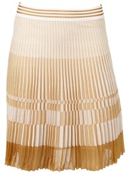 Maison Ullens Pleated Short Skirt Brown