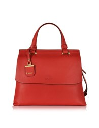 Dkny Vermillion Red Leather Small Double Gusset Top Handle Bag