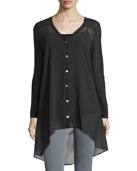 Neiman Marcus V Neck High Low Tunic Black