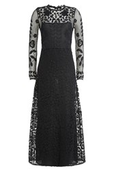 Red Valentino Floor Length Dress With Embroidered Overlay Blue