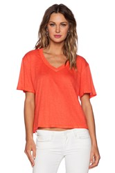 Heather Linen V Neck Top Coral