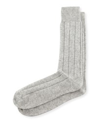 Neiman Marcus Cashmere Blend Ribbed Socks Grey
