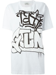 Faith Connexion Grafitti Print T Shirt White
