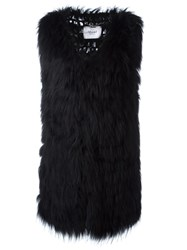 Blugirl Sleeveless Fur Coat Black