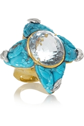 Lydia Courteille Star 18 Karat Gold Turquoise Aquamarine And Diamond Ring