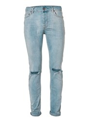 Topman Light Wash Blue Ripped Stretch Skinny Jeans