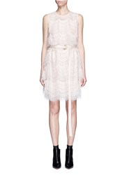 Givenchy Layered Lace Belted Sleeveless Dress Pink