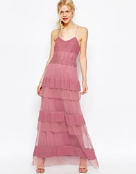 Asos Premium Maxi Dress With Lace Tiers Oxblood Red