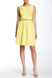 Ellen Tracy Sleeveless Pleated Sundress Petite Yellow