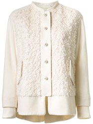 Muveil Textured Collarless Jacket White