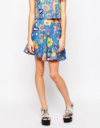 Textile Federation Daydream Skater Skirt In Psychedelic Floral Print Blue Paisley