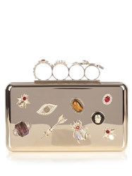 Alexander Mcqueen Crystal Embellished Gold Tone Knuckle Clutch Silver