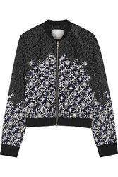 3.1 Phillip Lim Lace And Silk Bomber Jacket Black