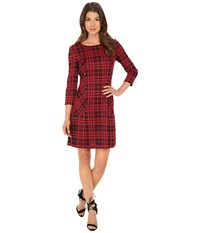 Tahari By Arthur S. Levine Plaid Knit With Pleating Dress Lipstick Black Women's Dress Pink