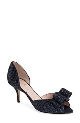 Women's Kate Spade New York 'Sela' Glitter Bow Peep Toe Pump Navy Glitter Navy Satin