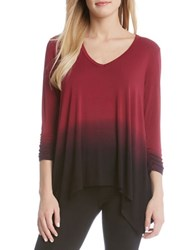 Karen Kane Ruched Sleeve Ombre Dye Tee Red