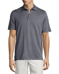 Ermenegildo Zegna Horizontal Herringbone Short Sleeve Polo Shirt Blue Nvy Sld