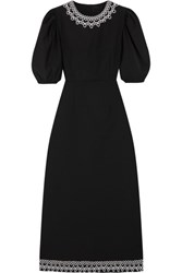 Paskal Lace Trimmed Stretch Wool Blend Midi Dress Black