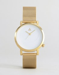 Asos Gold Mesh Watch With Dial Detail Gold
