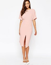 Asos Wiggle Dress With Split Front Blush