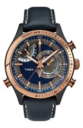 Men's Timex 'Intelligent Quartz' Leather Strap Watch 46Mm Blue Gunmetal Rose Gold