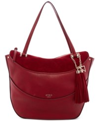 Guess Solene Large Satchel Bordeaux