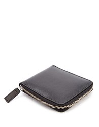 Royce Saffiano Leather Zip Around Wallet Black