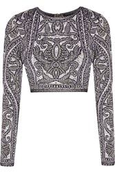 Herve Leger Mackenzie Cropped Matelasse Jacquard Knit Top Purple