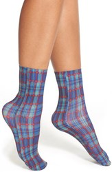 Women's Nordstrom Plaid Crew Socks Blue Plaid