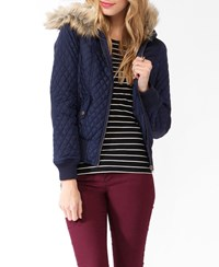 Forever 21 Hooded Puffer Jacket W Faux Fur Trim