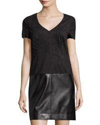 Laundry By Shelli Segal Platinum Faux Suede And Faux Leather Shift Dress Black