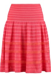 M Missoni Mesh Trimmed Crochet Knit Cotton Blend Skirt Pink