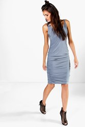 Boohoo Slinky Plunge Neck Midi Bodycon Dress Blue