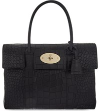 Mulberry Bayswater Croc Leather Tote Bag Black